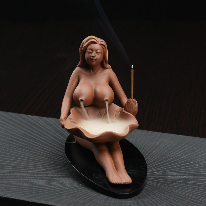 Backflow Incense Burner Ceramic Lady in the Nude Cone and Stick Holder