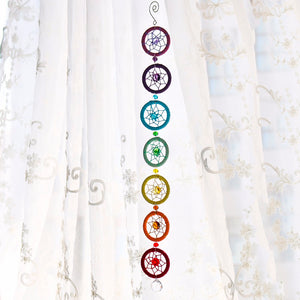 Chakra Rainbow Dream Catcher Wall Hanging Crystal Home Decoration