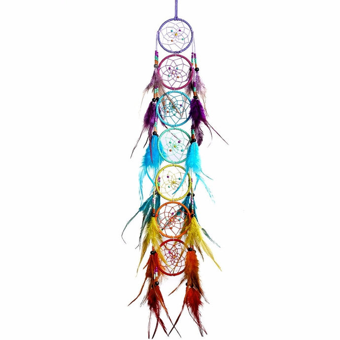 Chakra Fengshui Dream Catcher Chandelier Prism Suncatcher Rainbow Feather Wall Hanging Home Decor