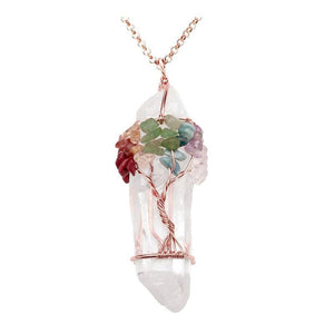 Chakra Gemstone Tree of Life Wire Wrapped Natural Clear Quartz Healing Crystal Pendant Necklace