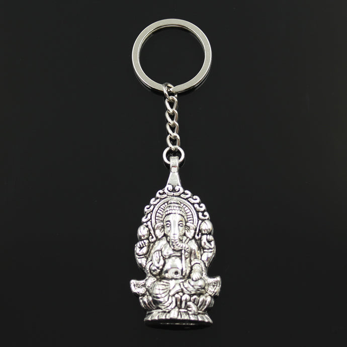Hindu Elephant-Headed God Ganesha Pendant Key Chain (Antique Silver or Bronze)