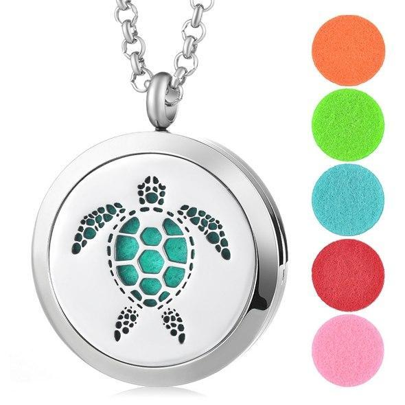 Aromatherapy Essential Oil Locket Pendant Necklace - Sea Turtle Design Magnetic Stainless Steel Diffuser Jewelry - Includes 5 Free Oil Pads Gift