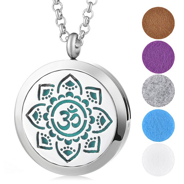 Aromatherapy Essential Oil Locket Pendant Necklace - Ohm Flower Design Magnetic Stainless Steel Diffuser Jewelry - Includes 5 Free Oil Pads Gift