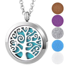 Aromatherapy Essential Oil Locket Pendant Necklace - Tree of Life Design Magnetic Stainless Steel Diffuser Jewelry - Includes 5 Free Oil Pads Gift