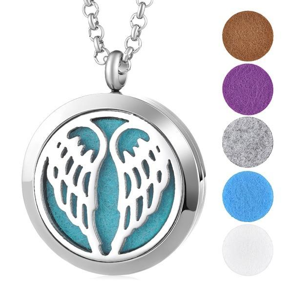 Aromatherapy Essential Oil Locket Pendant Necklace - Angel Wings Design Magnetic Stainless Steel Diffuser Jewelry - Includes 5 Free Oil Pads Gift