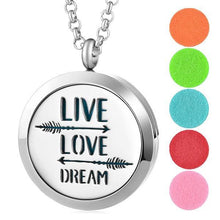 Aromatherapy Essential Oil Locket Pendant Necklace - Live Love Dream Design Magnetic Stainless Steel Diffuser Jewelry - Includes 5 Free Oil Pads Gift