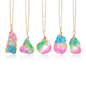 Rainbow Natural Stone Quartz Crystal Pendant Necklace - Womens Jewelry