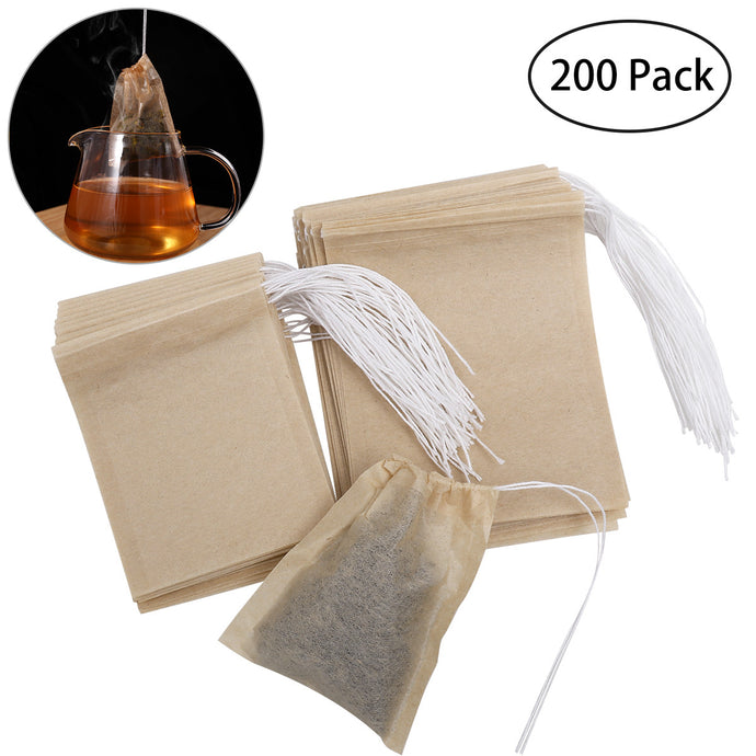 Namaste Golden 200 Pack Empty Drawstring Organic Cotton Natural Tea Bags