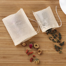 Namaste Golden 200 Pack Empty Drawstring Organic Cotton Natural Tea Bags Demonstration