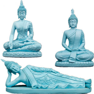 Blue Seated Thai Buddha Statue Feng Shui Figurine