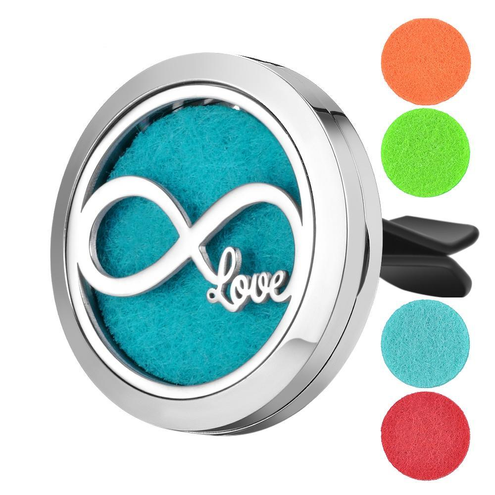 Aromatherapy Essential Oil Locket Vent Clip Car Diffuser - Forever Love Design Magnetic Stainless Steel Diffuser - Includes 5 Free Oil Pads Gift
