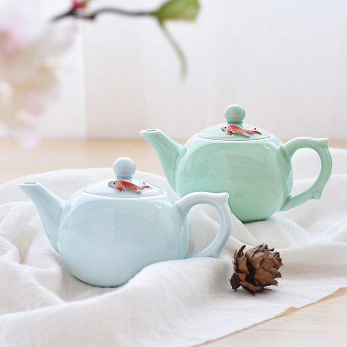 Dainty Zen Wind Fish Chinese Kung Fu White or Green Celadon Tea Cups Teapot Set