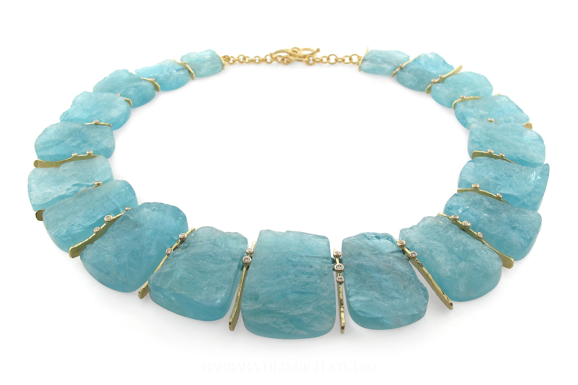 1e5b6f2bb Large rough cut aquamarine slice necklace with hand fabricated 18k gold  spacers and scattered diamond accents, 0.445 ctw. Style 3176g.