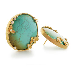 Trillium earrings in eighteen karat gold with chinese turquoise and small diamonds by Barbara Heinrich