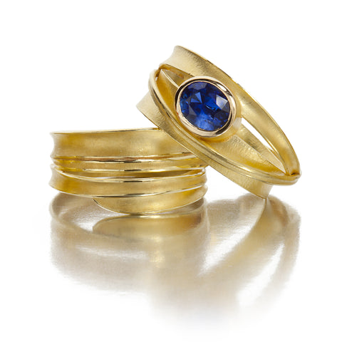 18K yellow and sapphire blade of grass ring and wedding band by Barbara Heinrich
