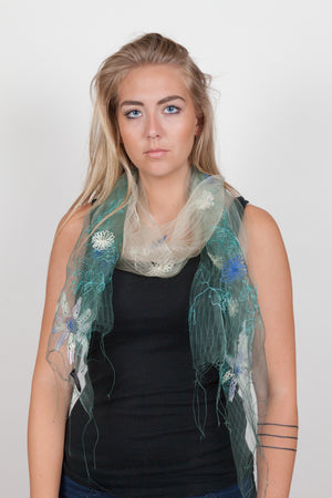 Embroidered Gossamer Silk Scarf
