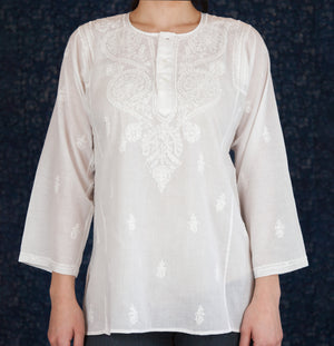 White Embroidered Kurta Top