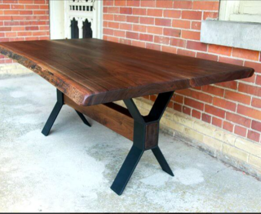 Walnut live edge table with walnut beam