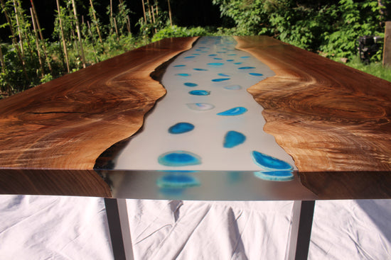 Black Walnut river table with blue agate-ready to ship!