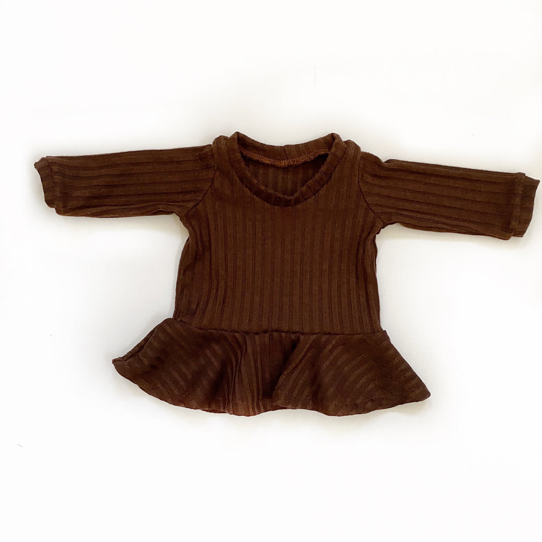 Hazelnut ribbed peplum