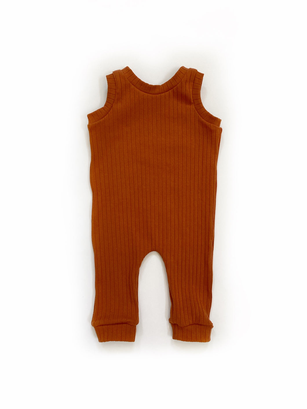 Ribbed Rust Snapless Romper