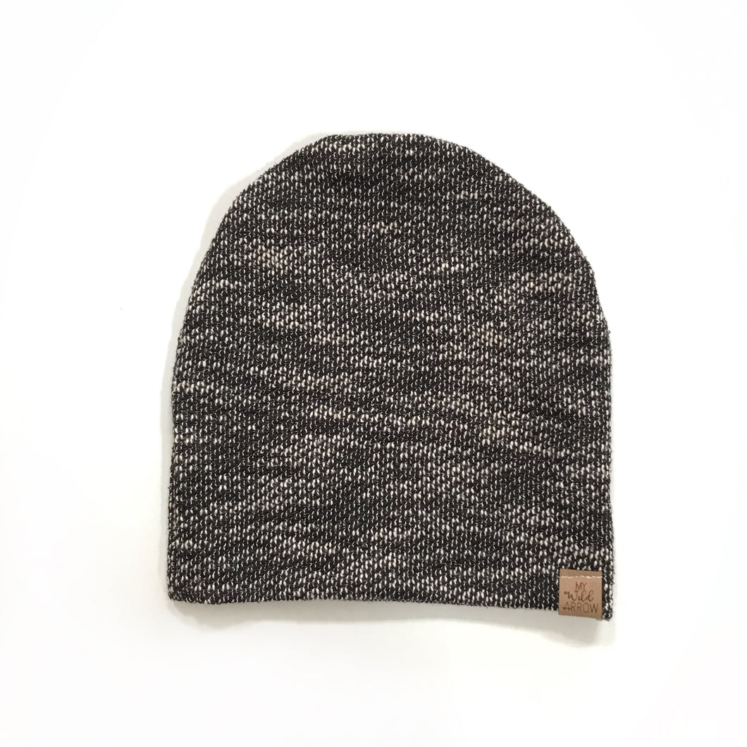 Speckled Black & White Slouchy Beanie