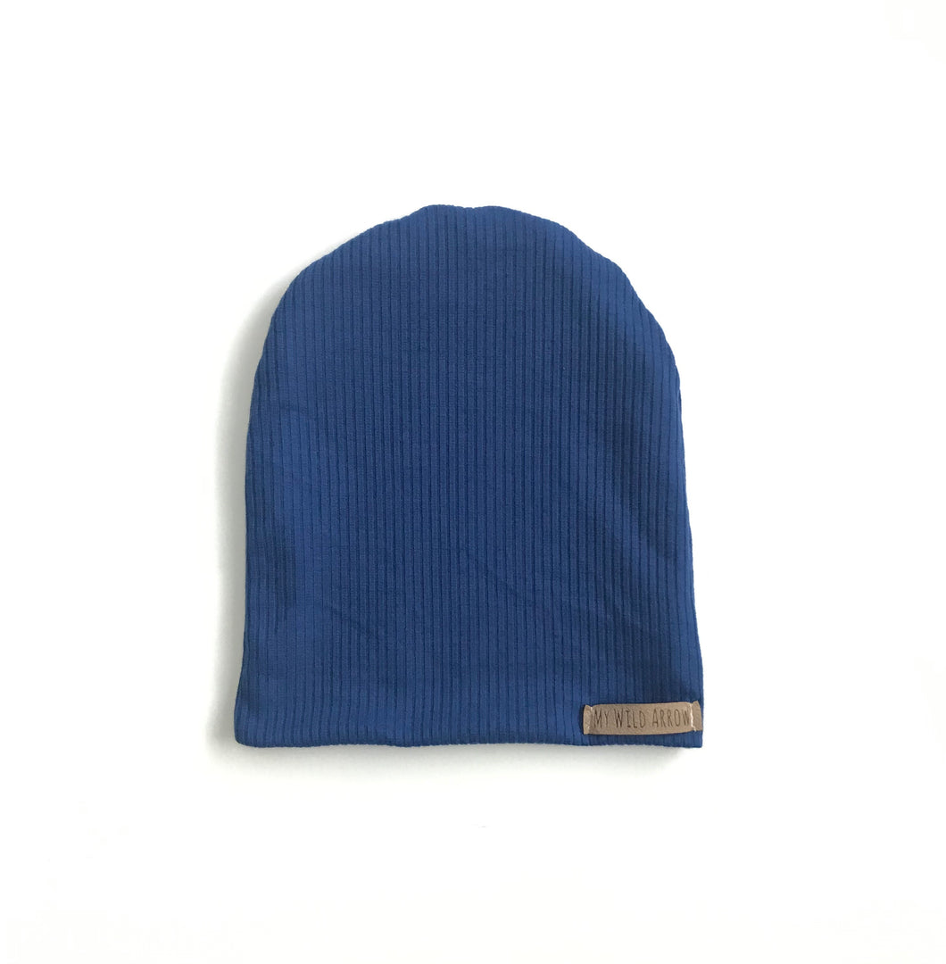 Ribbed Royal Blue Slouchy Beanie