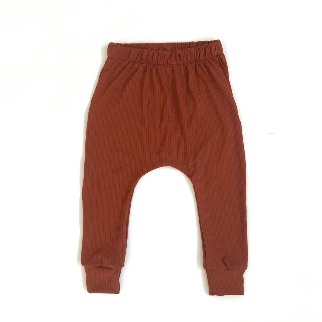 Ribbed Rust harem pants