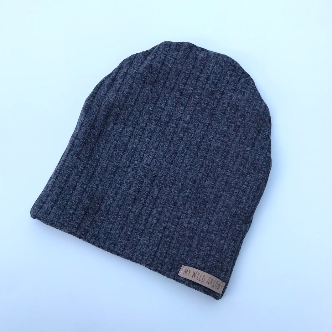 Ribbed Gray Slouchy Beanie