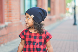 Ribbed black Slouchy Beanie