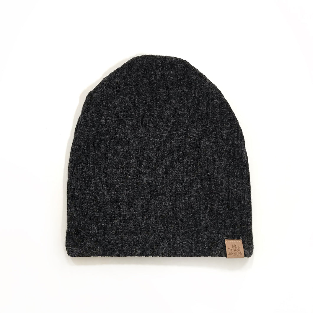 Ribbed Charcoal Slouchy Beanie