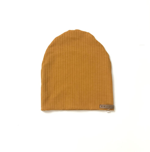 Ribbed Mustard Slouchy Beanie
