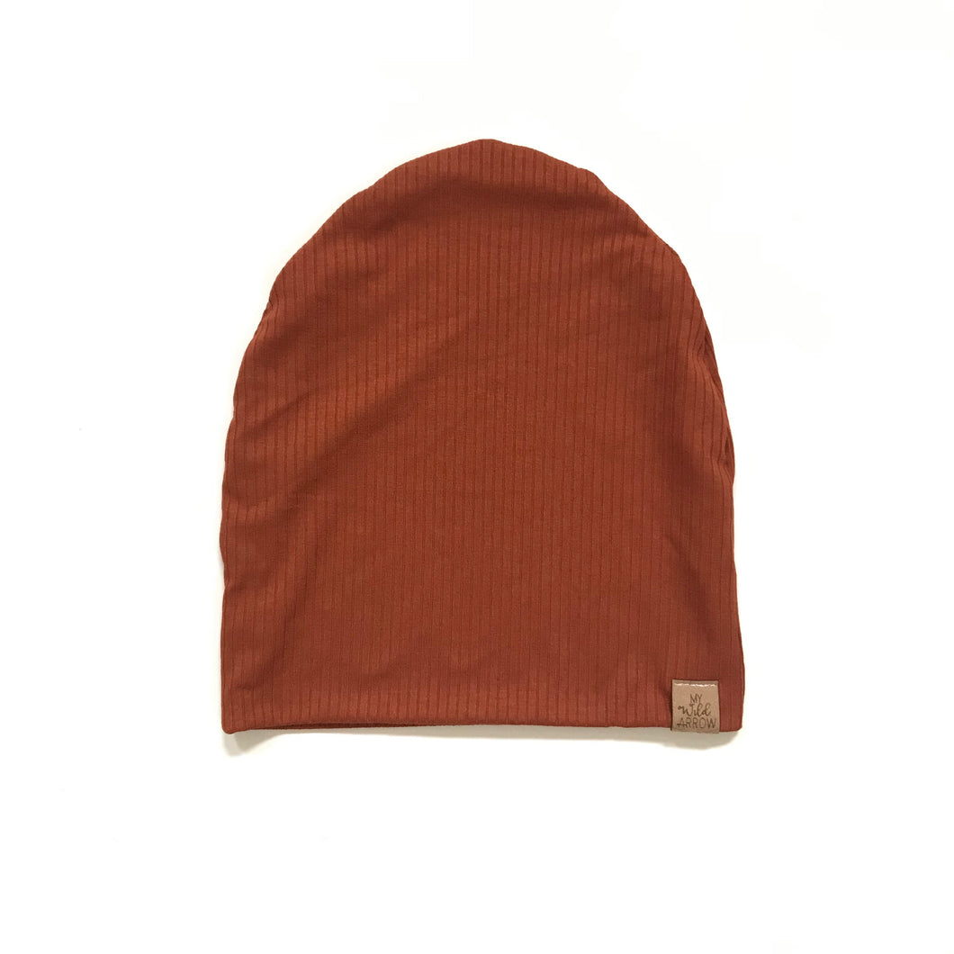 Rust Ribbed Slouchy Beanie (pom optional)