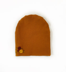 Toddler size Embroidered Floral Slouchy Beanie