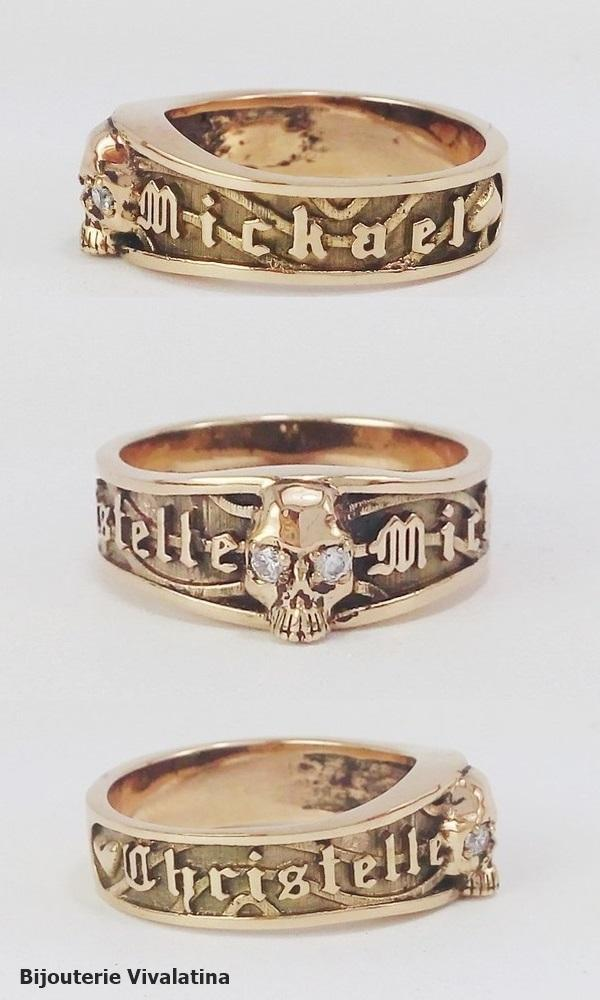 3 views of the skull gold ring