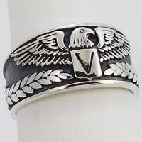Silver eagle signet ring