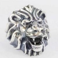 lion silver signet ring
