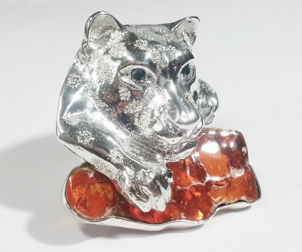 jaguar brooch silver opal creation