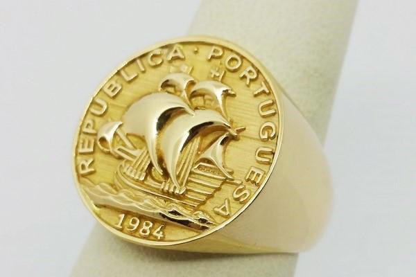 large gold coin ring for men