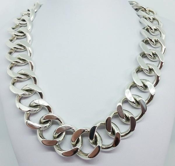 big silver necklace women