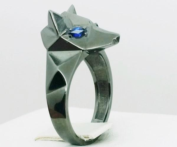 signet ring wolf black gold