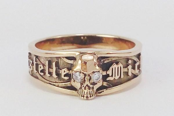 Skull pink gold ring for women