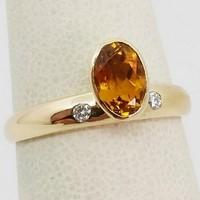 ring citrine gold diamond