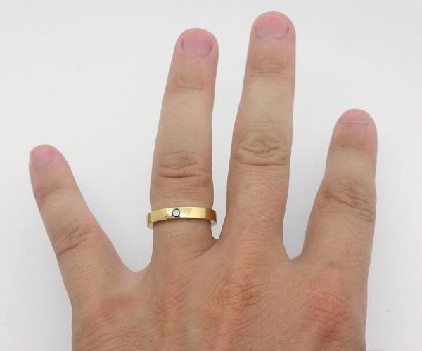 24k gold ring for men with black diamond