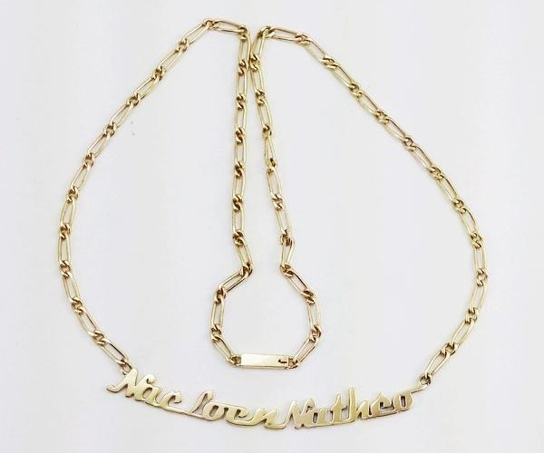 Gold names pendant