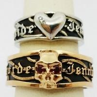 Biker wedding rings duo