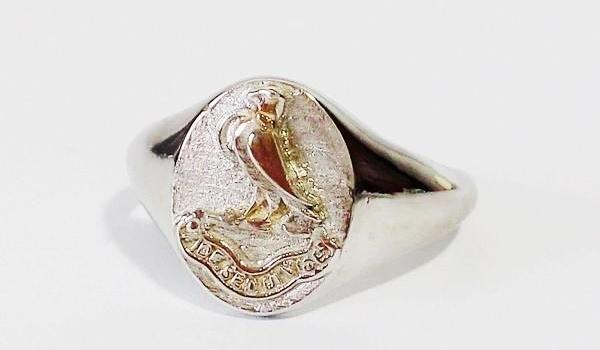 white gold eagle signet ring
