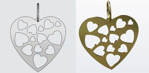 Digital model heart pendant