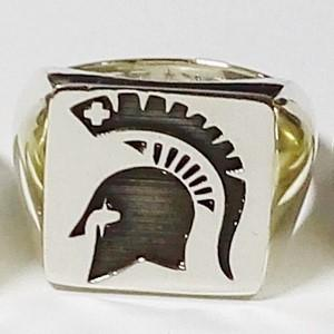 Spartan silver signet ring