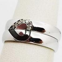 heart wedding rings duo